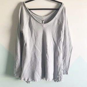 Free People xs oversized top with embroidered lace